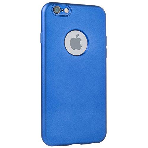 METALLIC Schwarz Hülle Apple iPhone 6 / 6s - TPU Silikon Backcover Case Handy Schutzhülle Metall Optik Glossy- MOVOJA Cover Metallic iPhone 6 Schwarz Blau