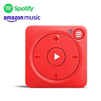 Mighty Vibe Spotify and Amazon Music Player - Mooshu Red - Audio Player Sports Clip, For Bluetooth and Wired Earphones - Gym, Running, Cycling With No Phone