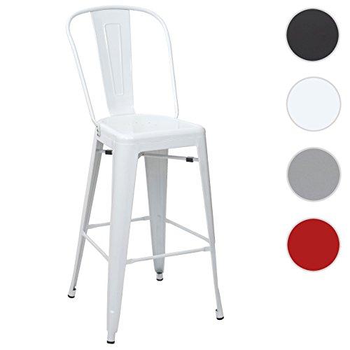 Tabouret de bar HWC-A73, chaise de comptoir avec dossier, métal, design industriel ~ blanc