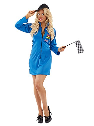 LADIES RACER GIRL COSTUME - BLUE - SMALL (8 - (Racer Girl Kostüm)