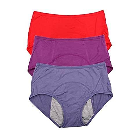 Bambusviskosefaser Hochhaus kurze Menstruation Physiologische auslaufsicher Slip 3 Pack Size 46, (Kurze 3er-pack Panty)