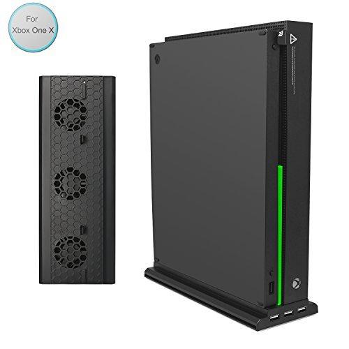 Xbox One X Vertikaler Ständer mit Kühler, fastsnail Vertikaler Ständer für Xbox One X mit 3USB-Ports und Einem Licht Bar (Nur für Xbox One X) - Zubehör-ventilator-licht-kit