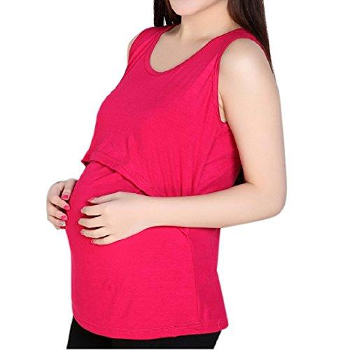 Malloom® Incinta di maternità magliette Infermieristica Tops Maglietta allattamento al seno Vest (rosa caldo)