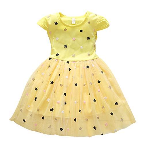rn Print T-Shirt Mesh-Kleid Casual Kurzarm Baby Mädchen Einheitlicher Rock Weich Baby Mädchen Beiläufig Kleidung T-Shirt Kleider Sommerkleider Minikleid ()