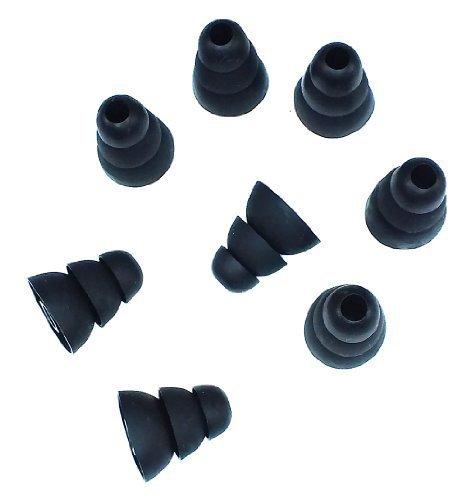 Xcessor Triple Flange konische Ersatz Silikon Ohrstöpsel 4Paar (von 8Stück). Kompatibel mit den meisten in-Ear Kopfhörer-Marken. Größe: groß. Transparent L Schwarz - 2