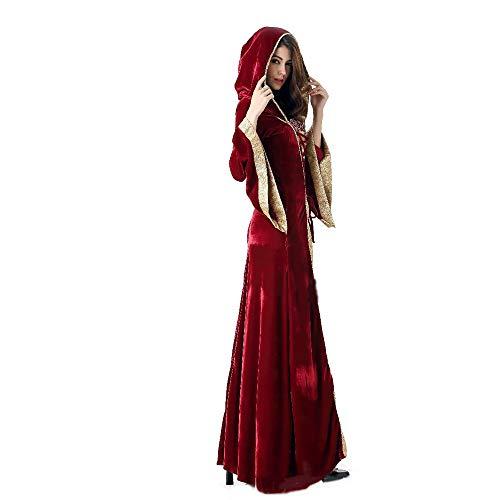 m Für Frauen Erwachsene Cosplay Magic Hexe Dress Up Hexen Kleid Langen Kleid Court Queen Kostüm,Red ()