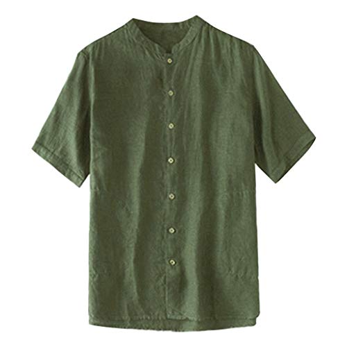 ZHANSANFM Leinenhemd Herren Unifarben Button Down T-Shirt Henley Freizeithemd Atmungsaktives Bequem Leinen Sommerhemden Casual Sommer Lässige Shirt Mode Retro Regular Fit (L, Armeegrün) -