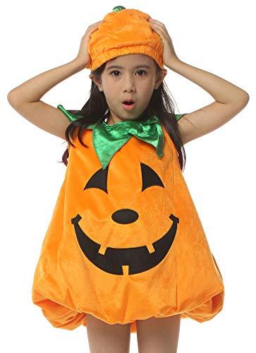 IKALI Costume da Zucca Bambino, Facce di Lanterna Vestito Ragazza con Cappello per Halloween Carnevale