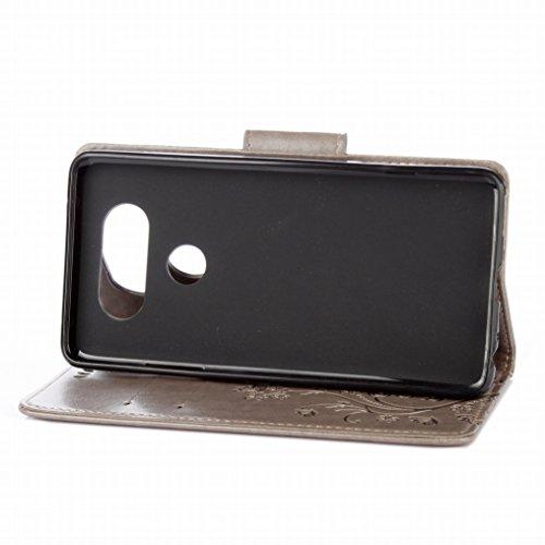 Custodia LG V20 / H910 / H918 Cover Case, Ougger Fiore Farfalla Portafoglio PU Pelle Magnetico Stand Morbido Silicone Flip Bumper Protettivo Gomma Shell Borsa Custodie con Slot per Schede (Marrone) Grigio