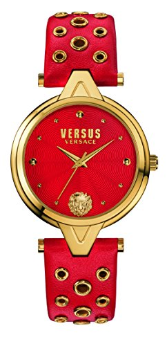 Versus by Versace Women's 'V Versus eyelets' Quartz Stainless Steel and Leather Casual Watch, Color Red (Model: SCI020016)