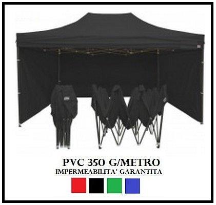 Gazebo pieghevole 3x4.5 nero acciaio + 4 teli laterali pvc 350 g metro