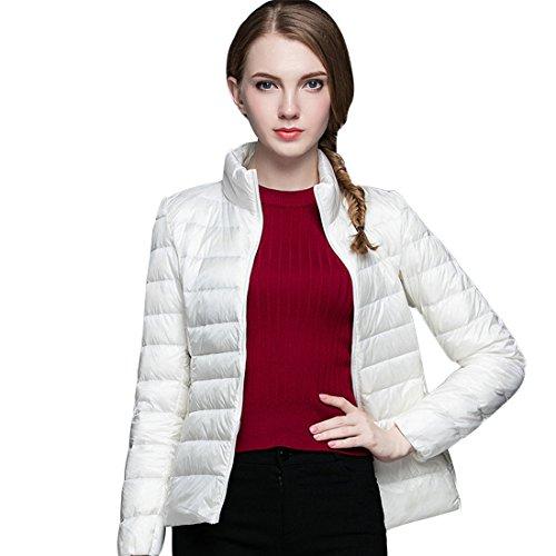 GWELL Damen Ultra Leicht Daunenjacke Winter Mantel Übergangsjacke weiß M