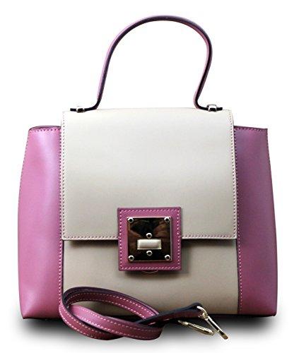 Made In Italy Borsa Donna Borsa A Spalla Borsa A Tracolla Tote Bag Hobo Cube Vera Pelle, Colore: Blu-nero Rosa-beige