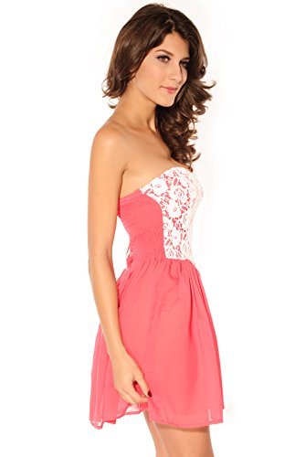 Dissa® femme Rose Blanc SY2603 robe de cocktail Rose Blanc