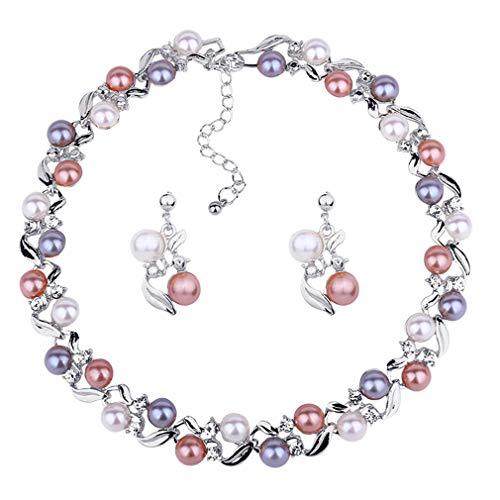 Yazilind Multicolor Künstliche Perle Twisted Halskette Ohrstecker Set Einstellbare Legierung Kette Halsband für Frauen Klassische Schmuck (Silber)