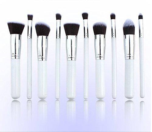 Lychee 10pcs Pinceaux de Maquillage Professionnel Brosse Souple Kit Cosmétiques à la Mode (Blanc-Argent)