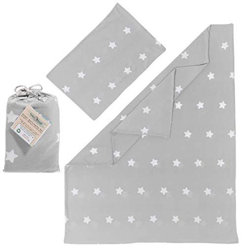 Kinderbettwäsche 100 x 135 aus 100% BIO Baumwolle | Bettbezug/Bettwäsche Set für Kinder & Baby in grau (mit weißen Sternen) für Mädchen & Jungen