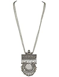 Total Fashion Silver Oxidize Sin CND DBL Round Mirror Long Chain Necklace For Girls & Women