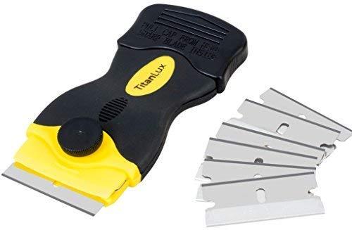 Rasqueta profesional para vitrocerámica con cuchillas de acero inoxidable, original TitanLux, |limpiador...