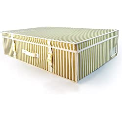 Hangerworld Caja de Ordenación 50x80x20cm Transpirable con Tapa Rayas Dorado Protege tu Traje de Novia