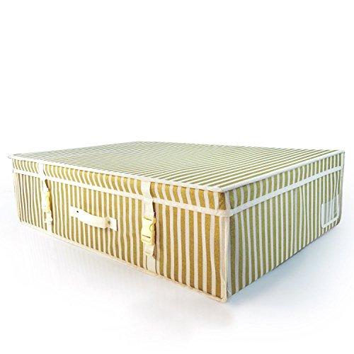 HANGERWORLD Große Aufbewahrungsbox 50x80x20cm Gestreift Aufbewahrung Kleidungsstücke Bettwäsche