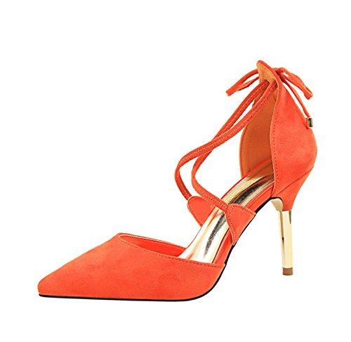 XINJING-S Lace-up Schuhe High Heels Schuhe Party Hochzeit Frauen Pumps Heels Kleidung Schuhe Orange