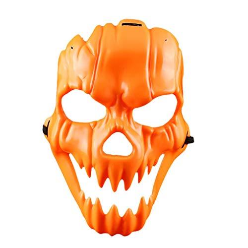 (FORH 1 PC Maske Schutzmaske Halloween Ghost Dance Hip-hop Auftritte Masken Partei Kleid Maske Full Face Horror Kürbis lächelndes Gesichts Plastikmaske kleiden oben Stützen an (Orange))