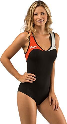 Cressi DEA Swimming Wetsuit Damen Neopren Badeanzug 1mm Neoprenanzug, Weiß/Orange, M/3