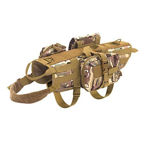 Feidaeu Pet Sattel Brustgurt Weste Mit Abnehmbaren Beuteln MilitäR K9 Medium Large Tactical Dog Outdoor Training Harness (Large Dog Blueberry Harness)