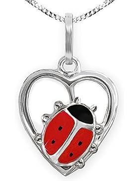 CLEVER SCHMUCK-SET Silberner Anhänger kleines Herz mit Marienkäfer seitlich hockend rot und schwarz glänzend mit...
