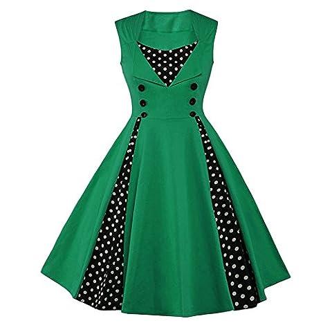 Dabag - Femmes été Rond Collier couleur mixte Épissure Polka point Sans manches tunique A-ligne robe Swing 2017 (5XL, Vert)