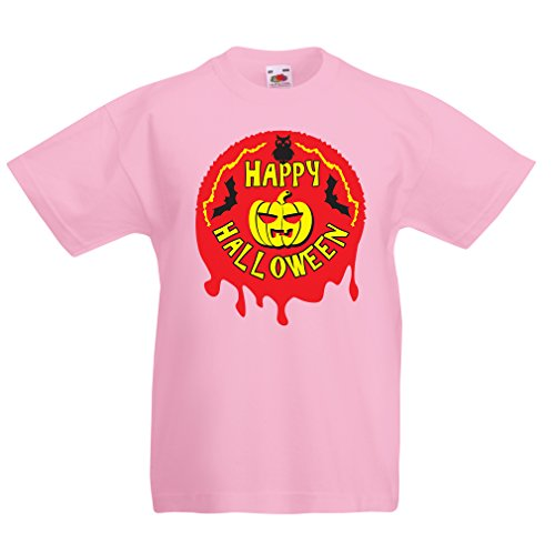 (Kinder T-Shirt Happy Halloween! - Party Clothes - Pumpkins, Owls, Bats (3-4 Years Pink Mehrfarben))