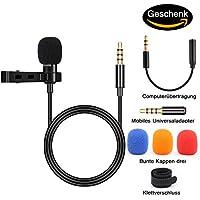 BIFY Lavalier Mikrofon für Smartphoneund PC, 2 Adaptern,für iPhone, Android Smartphone ,mikrofon für smartphone,PC