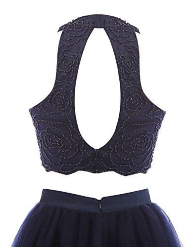 Dresstells Damen Kurz Zweiteilig Cocktailkleider Rückenfrei Tüll Partykleider Ballkleider 2016 Marineblau