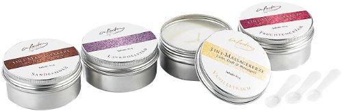 infactory Kerze: 3in1-Massagekerzen: Licht, Duft & Massageöl, 4 Stück (Massage-Kerzen)