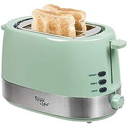 Bestron Grille-pain design avec 2 fentes, Avec tiroir ramasse-miettes et gril intégrés, Royal Mint, 850 W, Vert menthe