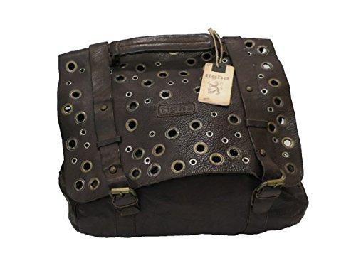 Preisvergleich Produktbild Damen Handtasche TIGHA Tasche MISHA Shopper Nieten Messenger Leder Braun