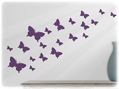 Wandtattoo Teenager-mädchen (wandfabrik - Wandtattoo / Wallsticker - 20 Schmetterlinge (Set 2 - 3,5 - 10 cm) in Violett)