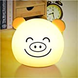 Animaux mignons créatif LED nuit lampe silicone lampe d'induction lampe lit doux environnement de bande dessinée USB ou batterie nuit lumière
