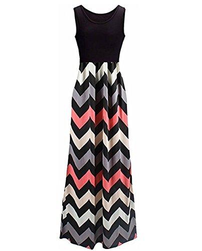 Corala Damen Kurzarm Boho Casual Striped Sommerkleid Strandkleid Lange Maxikleid, XXL, schwarz