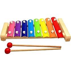 Madera multicolor del xilófono de madera juguetes musicales del instrumento para Bebés y Niños, 8 tonos de las notas de compás +2 Mazos