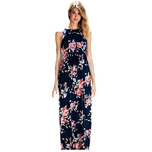 Damen Kleider Frauen Dress Sommerkleider Vintage Boho Maxikleid Ärmelloses Beiläufiges Strandkleid Blumenkleid Abendkleid Floralen Druck Minikleid Partykleid Cocktailkleid (S, Sexy Blau♂️) (Floral Beige Kleid)
