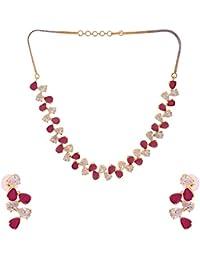 Ratnavali Jewels American Diamond CZ Gold Plated Emerald Green Stone Designer Jewellery Set/ Necklace Set With...