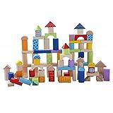 Eco Toys 100 Holzbausteine Natur-Bausteine Holzklötze Holzblöcke Bauklötze in Trommel Holzspielzeug bunt