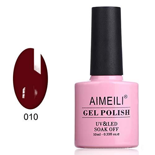 AIMEILI Smalto Semipermente per Manicure Smalti per Unghie in Gel UV LED Soak Off Rosso - Red Vixen (010) 10ml