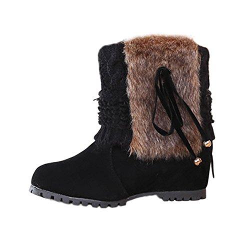 Manadlian Femme Bottes de Neige Hiver Chaudes Bottes Boots Fourrées Cheville Chaussures Bottes De Neige Fourrées Rejoint du Tricot Boots Revers Fourrure Baskets