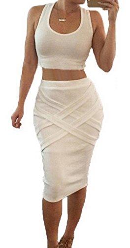 Smile YKK Femme Robe Peplum Bandage Hip-package Slim Moulante Blanc