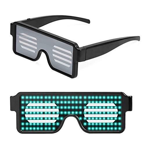 FaTsot Weihnachts Party Brille Partybrille,8 Modes Leuchtbrille LED Shutter Shade Brille USB Ladevorgang Leuchten Gläser für Party Masquerade, Nacht Pub,Bar Klub Rave (Grün)