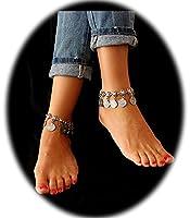 Pearlplus 1 Pair Vintage Boho Anklet Coin Tassels Beach Hawaiian Anklet Bracelet for Girls 2 Pcs