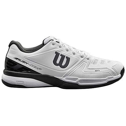 Wilson Scarpe da tennis da uomo, Ideali per giocatori di tutti i livelli, Per campi in terra rossa, Tessuto/Sintetico, RUSH COMP Clay Court, Bianco/Nero (White/White/Black), Misura: 42 2/3
